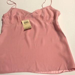 Pink silk cami with side zipper